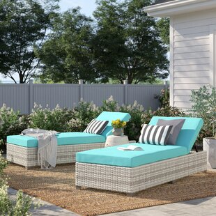 Falmouth Reclining Chaise Lounge with Cushion (Set of 2) by Sol 72 Outdoor