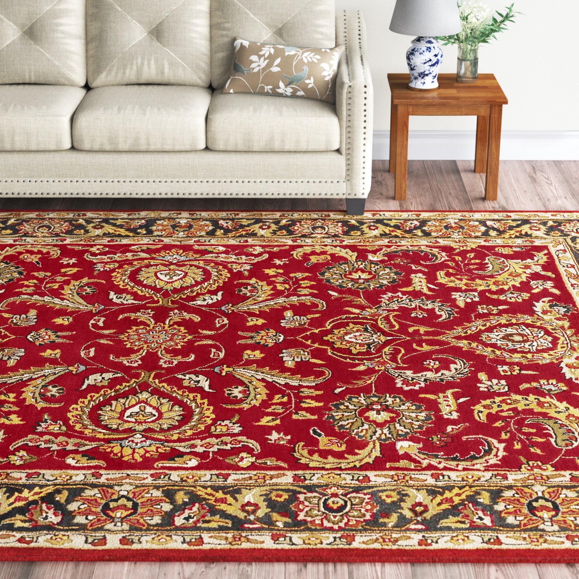 Birch Lane Elkhorn Oriental Handmade Tufted Wool Red Charcoal Area Rug Reviews Wayfair