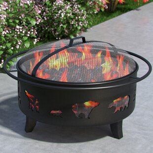 Outdoor Wild Bear Steel Wood Burning Fire Pit by Regal Flame