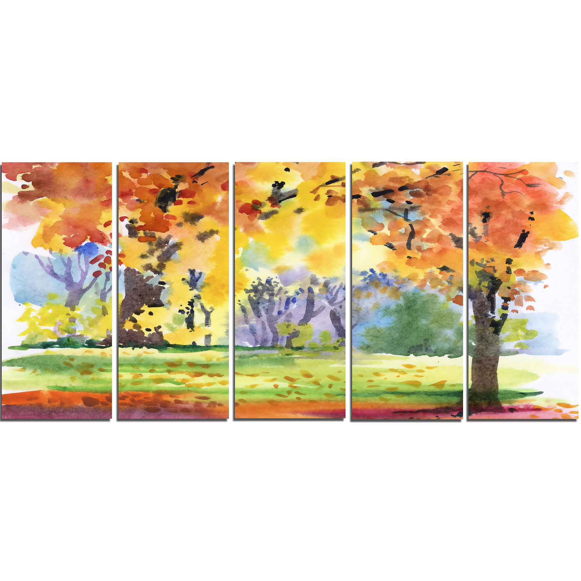 DesignArt Autumn Park Yellow Trees 5 Piece Wall Art on Wrapped ...