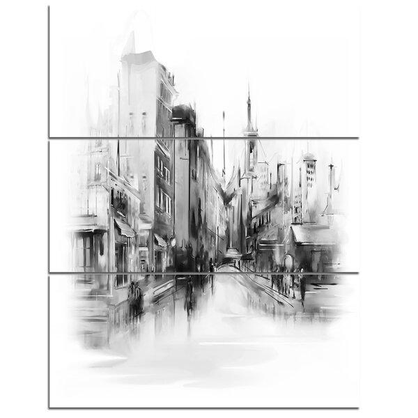 Designart Black And White City 3 Piece Graphic Art On Wrapped Canvas Set Wayfair
