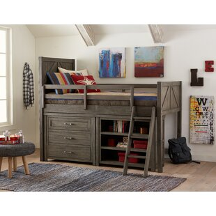 Belgrade Twin Loft Bed with Shelves and Bookcase by Three Posts