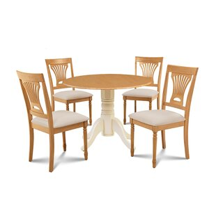 Forthill 5 Piece Drop Leaf Solid Wood Dining Set