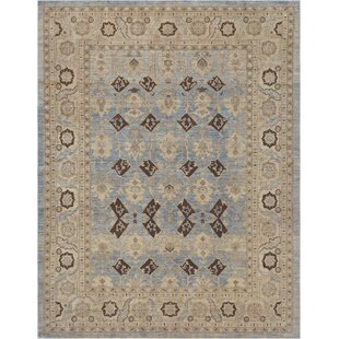 One-of-a-Kind Genuine Handwoven Wool Blue Indoor Area Rug ByMansour