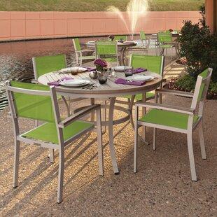 Latitude Run Farmington 5 Piece Dining Set with Green Sling Back chairs