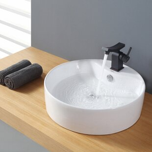 Kraus Ceramic Ceramic Circular Vessel Bathroom Sink with Overflow