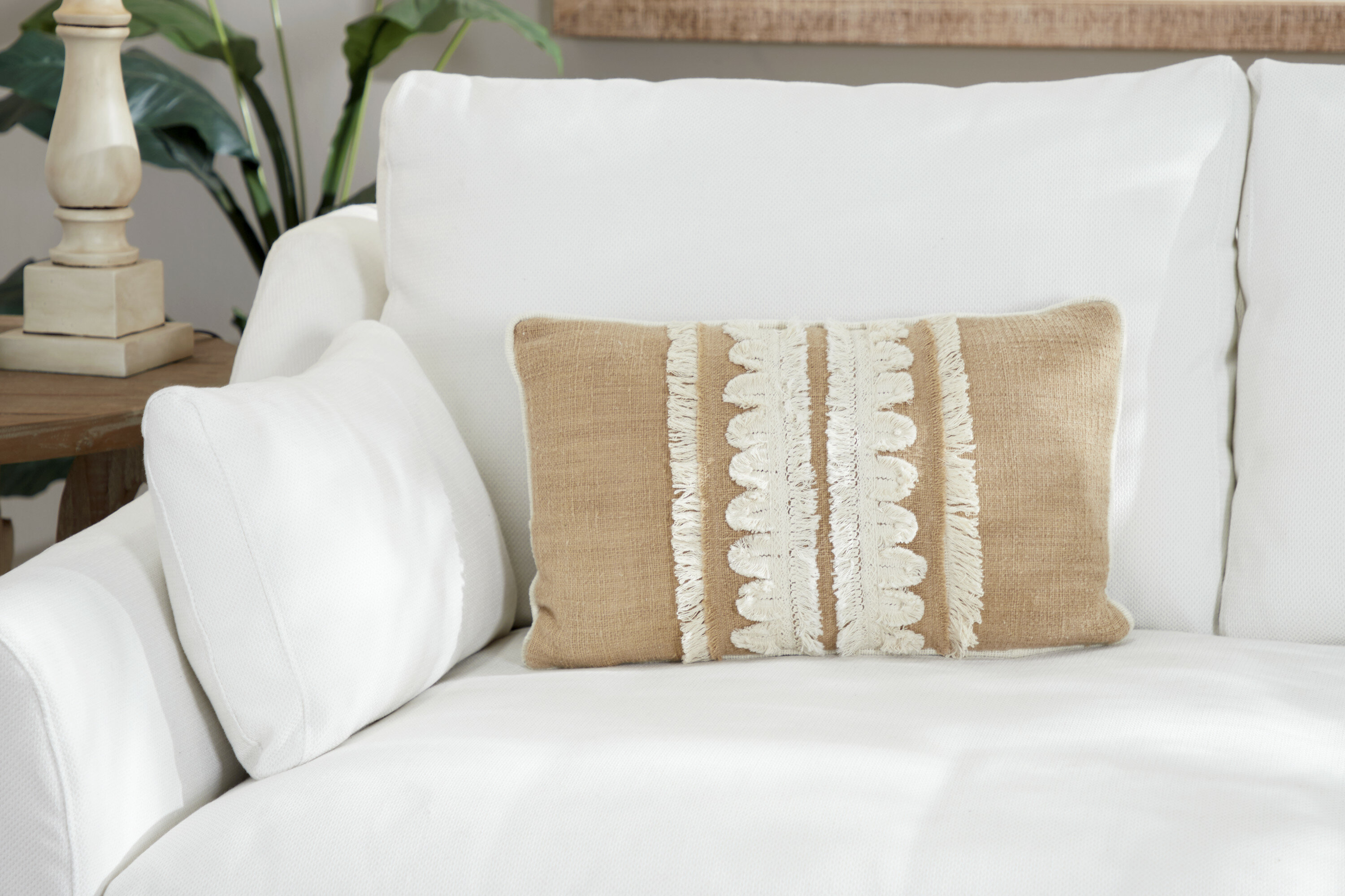 Bungalow Rose Capirano Embroidery And Fringe Cotton Throw Pillow Wayfair