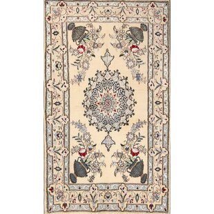 Best Review One-of-a-Kind Pence Floral Nain Isfahan Classical Persian Hand-Knotted 3'5 x 5'11 Silk Ivory/Black Area Rug By Isabelline