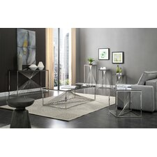 Kendra Glass and Stainless Steel 6 Piece Coffee Table Set by Willa Arlo Interiors