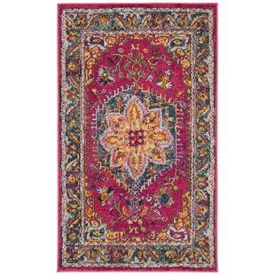 Dostie Red/Yellow Area Rug by Bungalow Rose