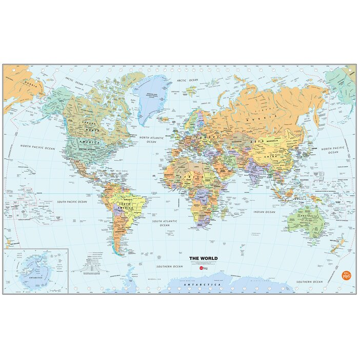 World Dry-Erase Map Wall Mural on