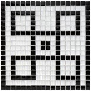 Sierra Greek Key 0  57 Porcelain Mosaic Tile In Black White
