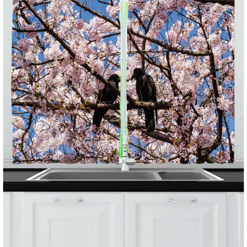 East Urban Home 2 Piece Photo Of Birds On Cherry Blossom Tree Branch Kitchen Curtains Set Wayfair