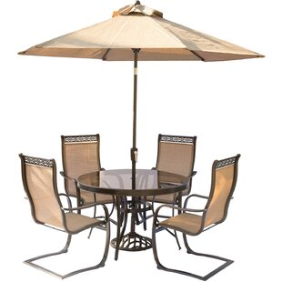 Bucci 5 Piece Outdoor Dinning Set with Table Umbrella and Umbrella Stand