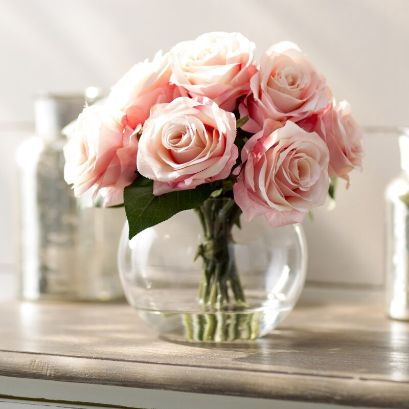 Ophelia Co Roses In Glass Vase Reviews Wayfair