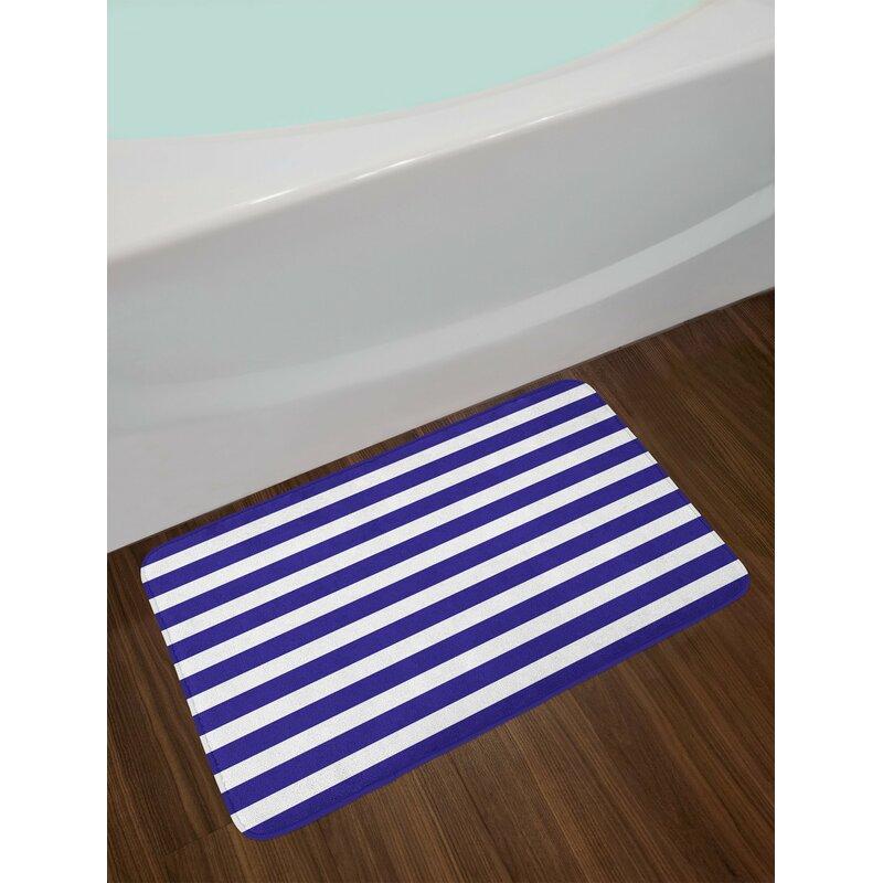 Nautical Purple Striped Bath Rug