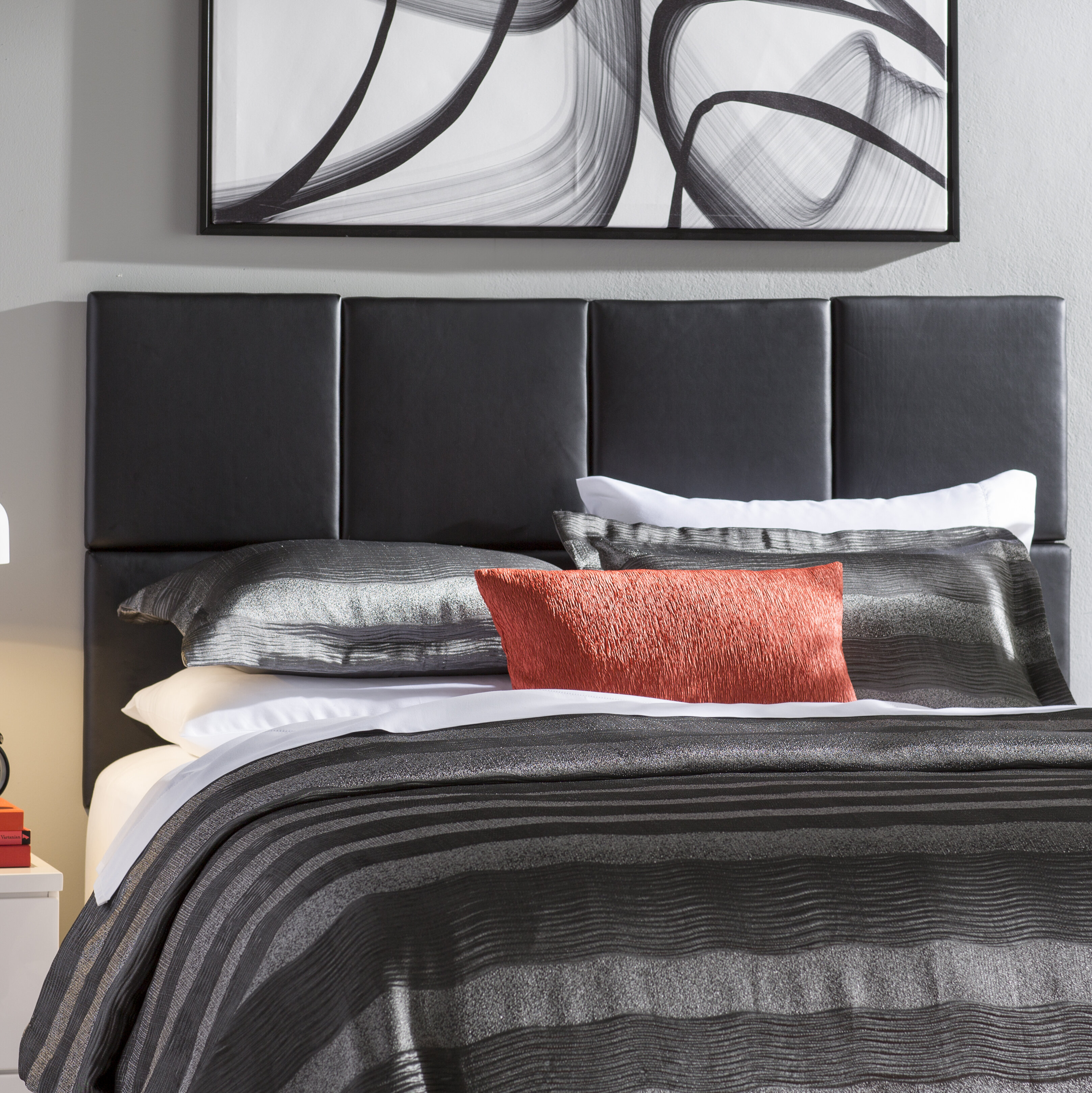 Wade Logan Zanna Upholstered Panel Headboard Reviews Wayfair - Logan-leather-bed-with-adjustable-headboard