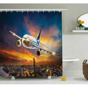Travel Night Scene with Plane Shower Curtain + Hooks
