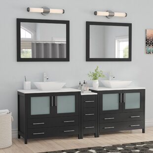 Karson Wooden 84 Double Bathroom Vanity Set with Mirror by Wade Logan