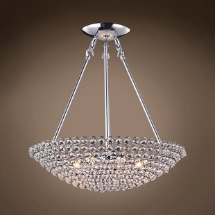 Everly Quinn Alexa 6-Light Bowl; Crystal Pendant