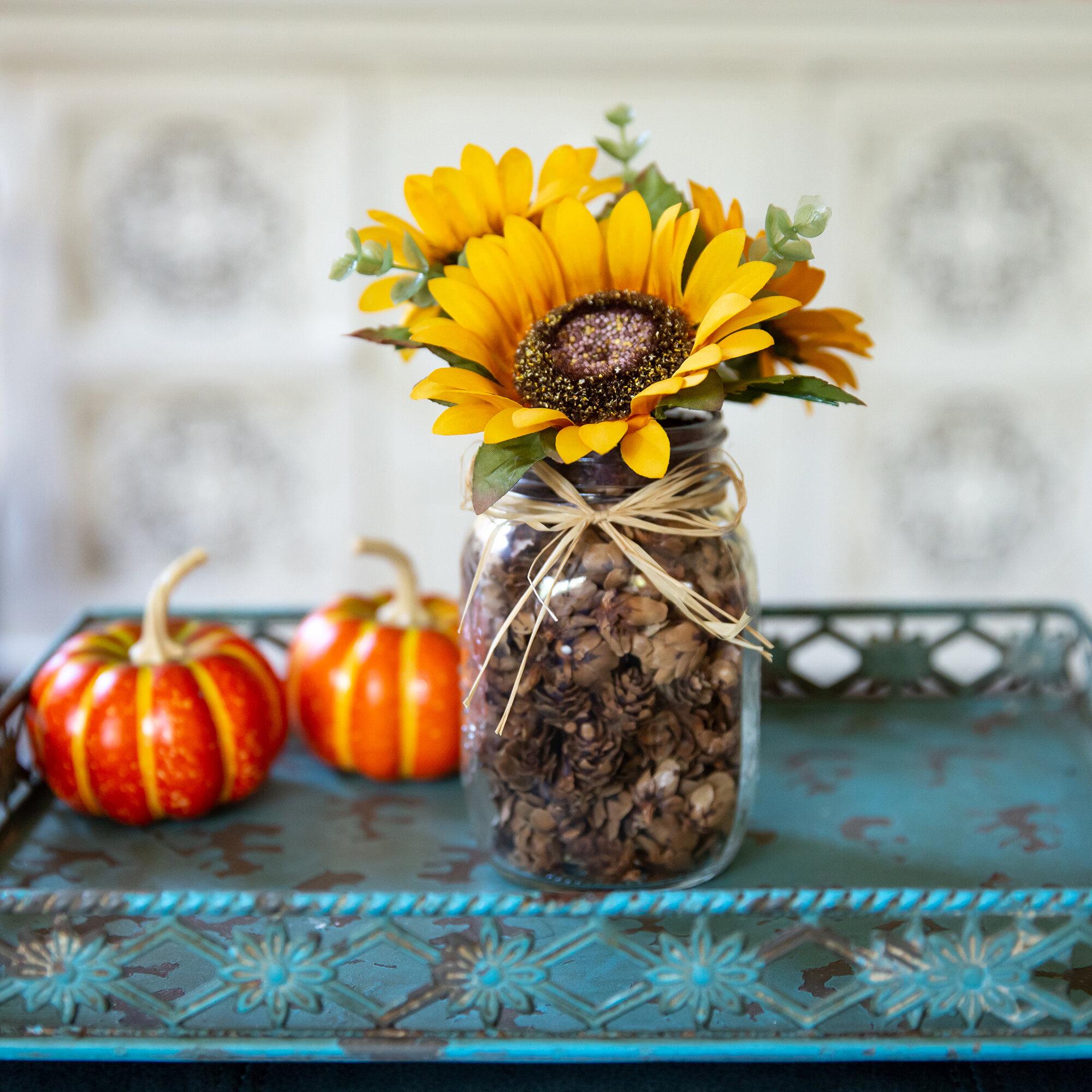 sunflowers floral arrangement in mason jar