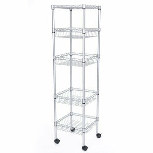 Rebrilliant Gretchen 5-Tier Wire Shelfed Durable Steel Baker's Rack