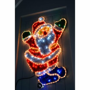 Santa LED Rope Light And Tinsel Lighted Display By The Seasonal Aisle