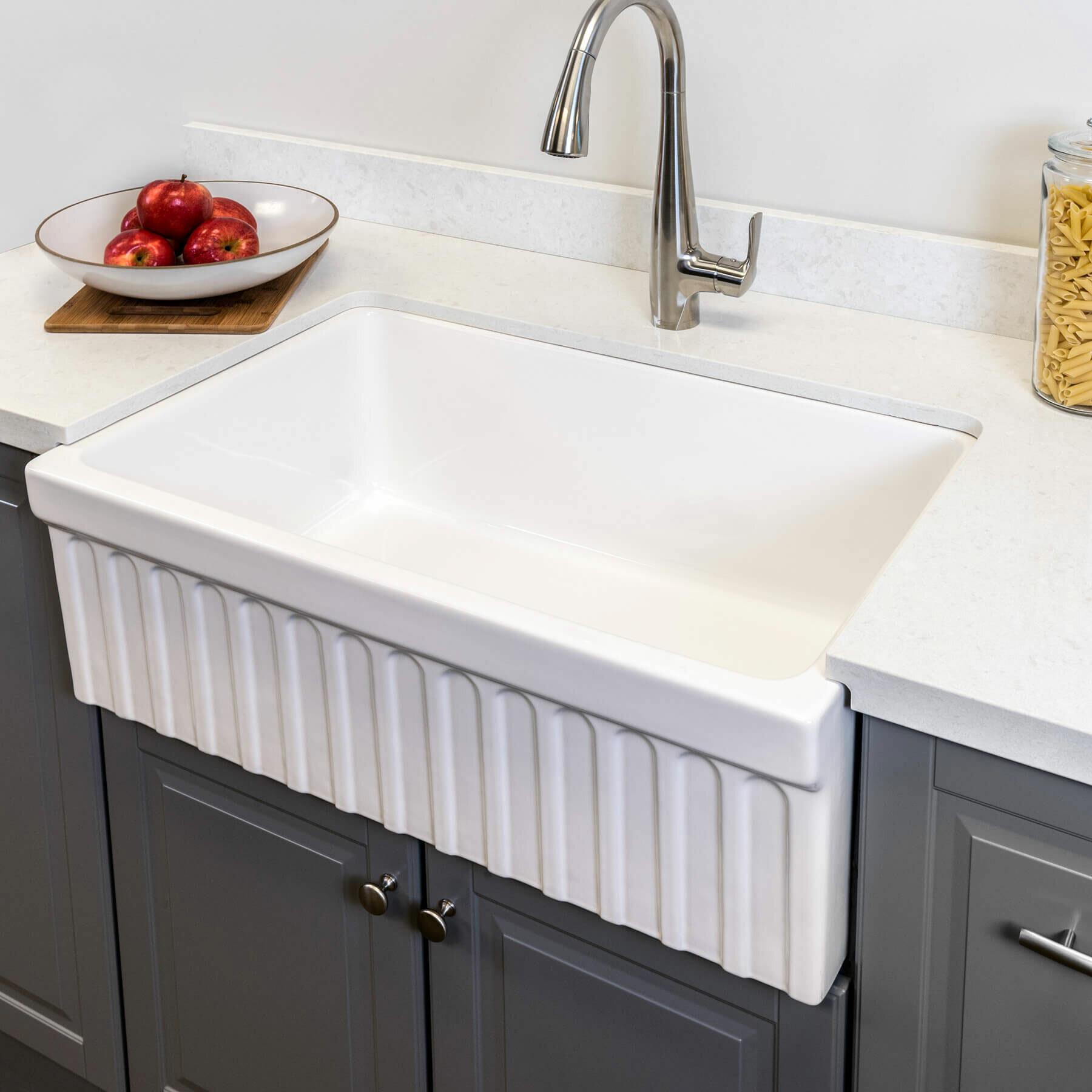 Maykke Victoria Fluted Fireclay 30 L X 20 W Farmhouse Kitchen Sink Wayfair