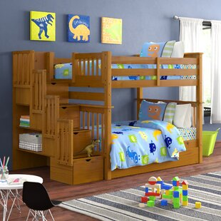 Tena Full over Full Stairway Bunk Bed with Trundle by Harriet Bee