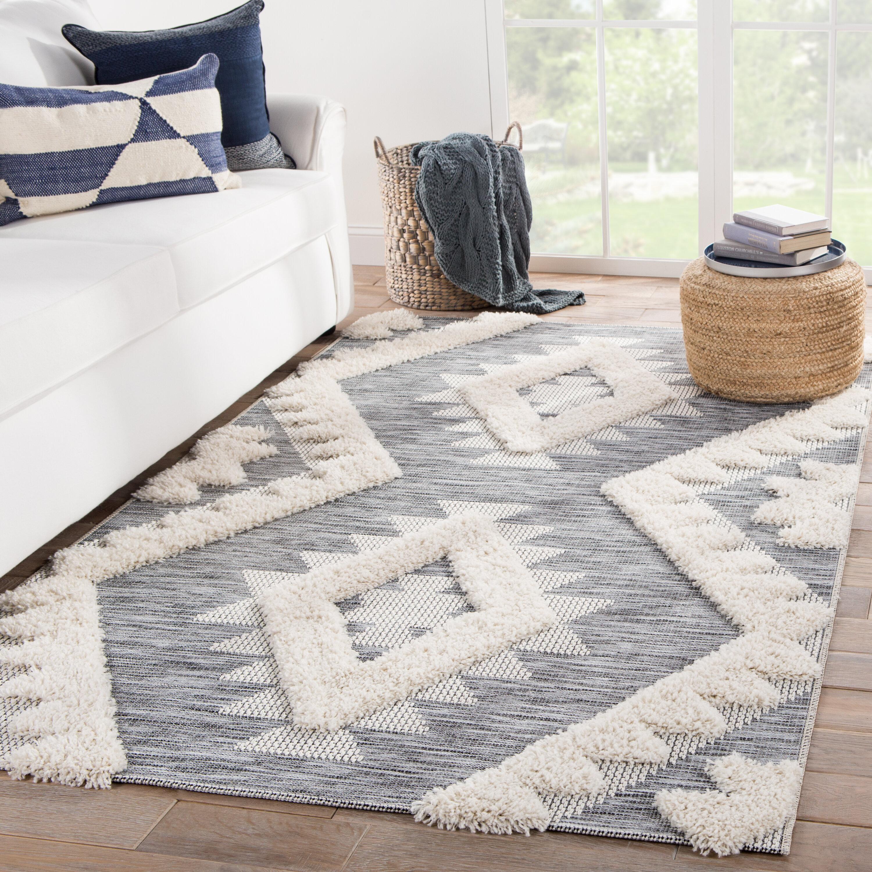 Allmodern Vermehr Geometric Gray Cream Indoor Outdoor Area Rug Reviews Wayfair