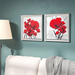 Big Red Poppies 2 Piece Framed Graphic Art Print Set Under Glass