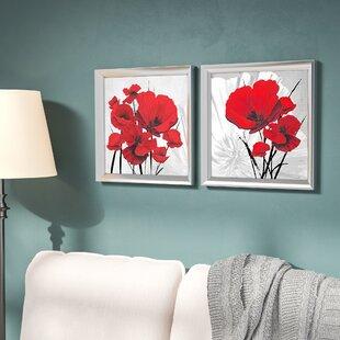 Big Red Poppiesu0027 2 Piece Framed Graphic Art Print Set Under Glass