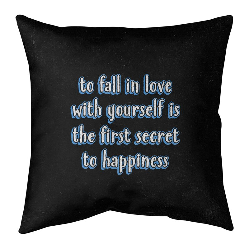 East Urban Home Loving Yourself Quote Chalkboard Style Pillow Cover Wayfair