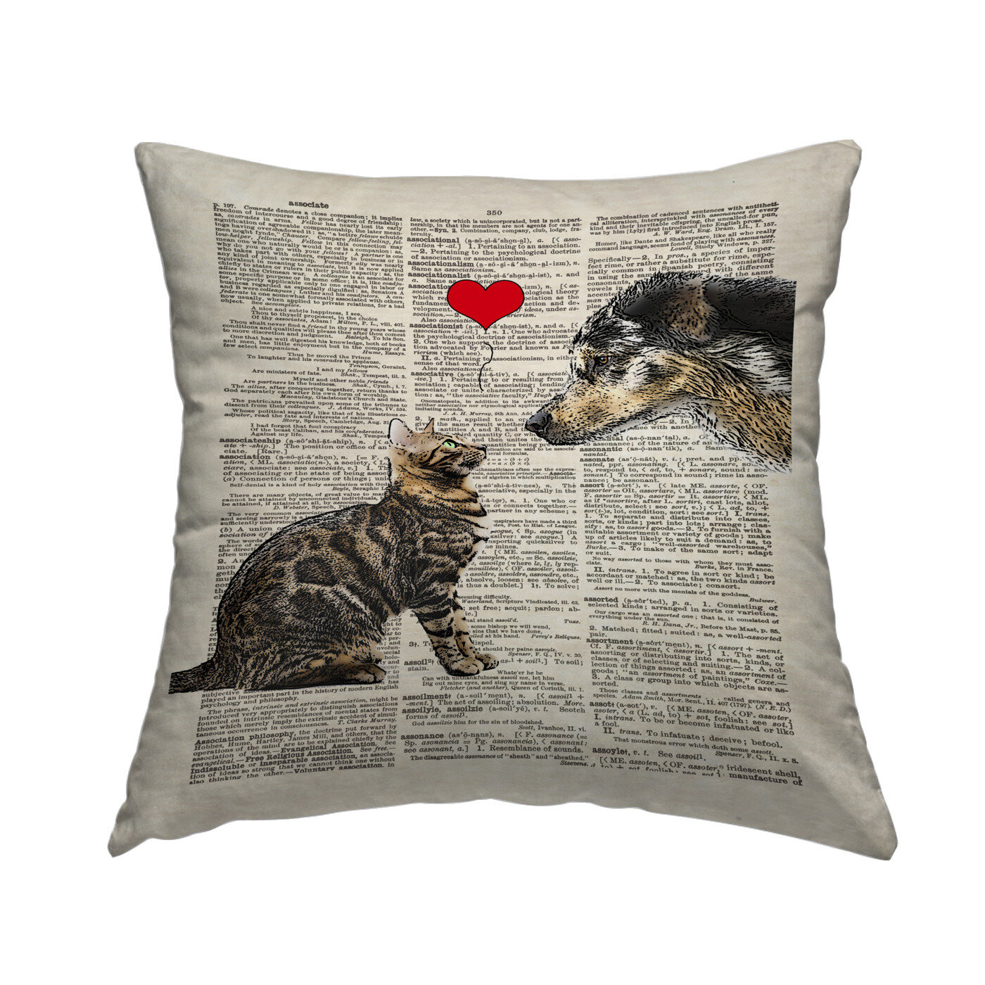 East Urban Home Dog Cat Love Throw Pillow Wayfair