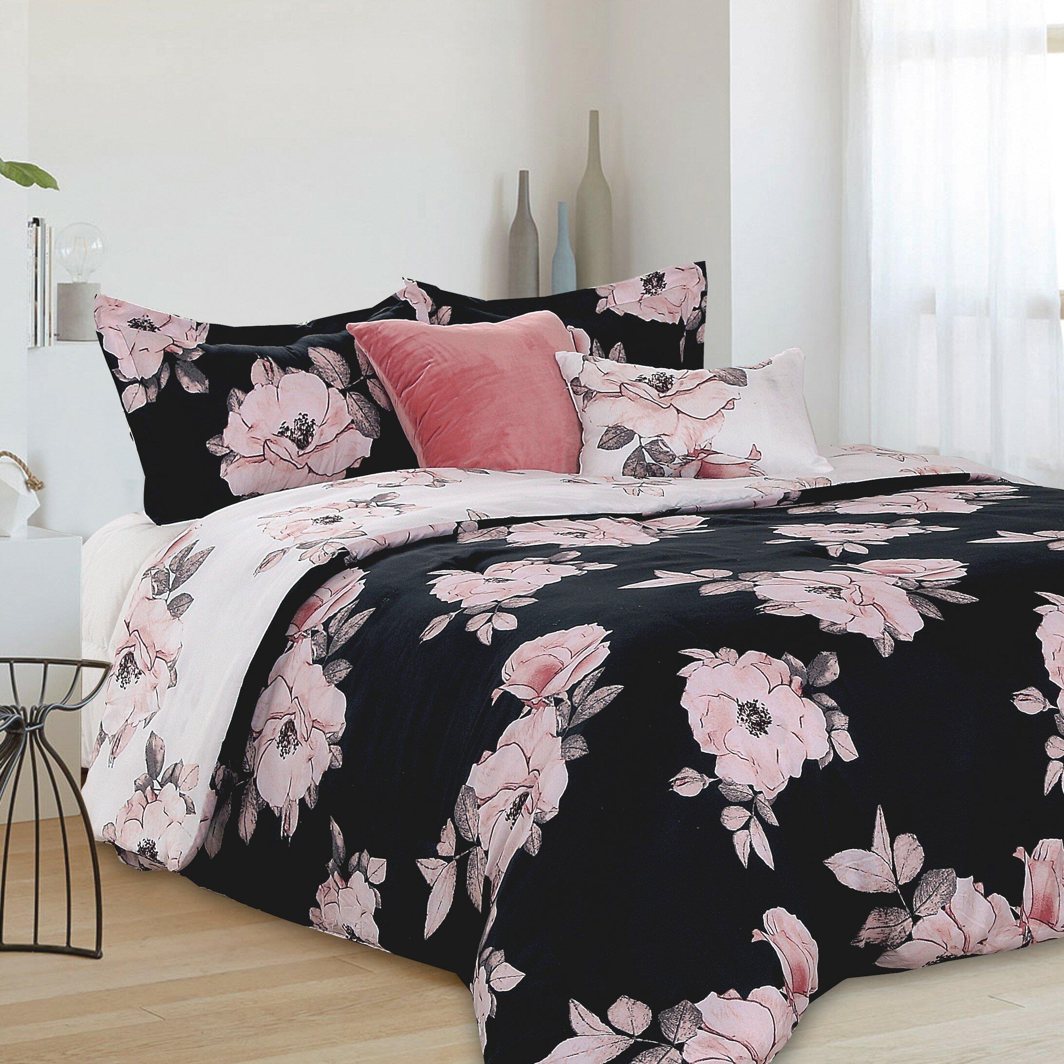 House Of Hampton Alphonse Floral Blooms Reversible Comforter Set