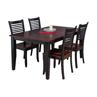 Haan 5 Piece Solid Wood Dining Set with L..