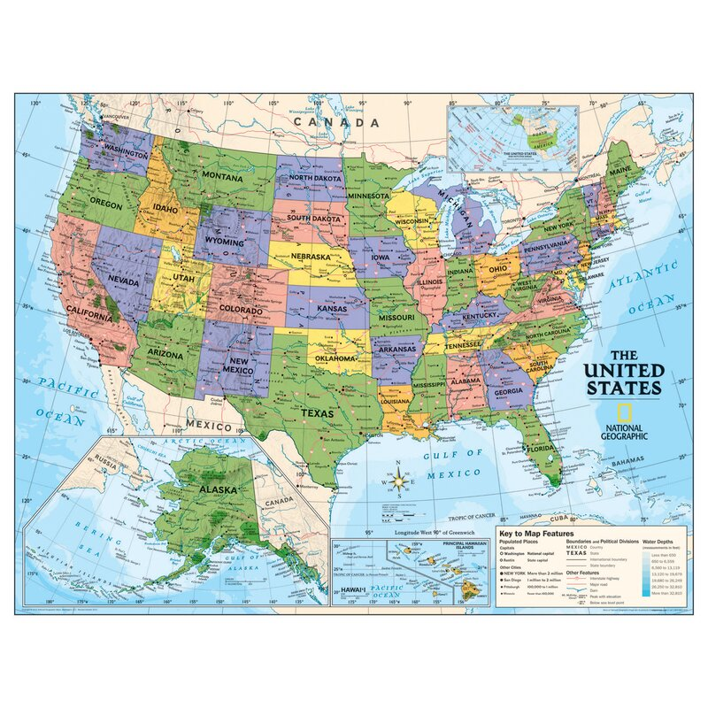 Georgia Map For Kids.National Geographic Maps Laminated Kids Political Usa Education Wall