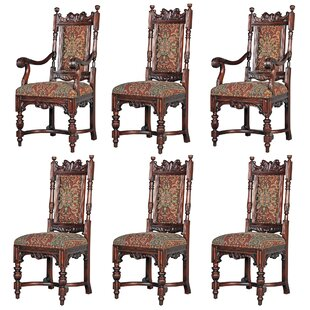 Grand Classic Edwardian Upholstered 6 Piece Dining Chair Set