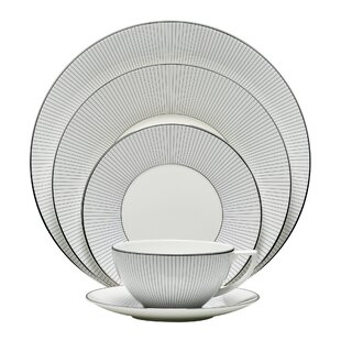 Blue Pinstripe 5 Piece Place Setting, Service for 1
