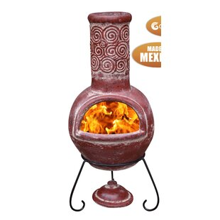 Espiral Clay Wood Burning Chiminea by Gardeco