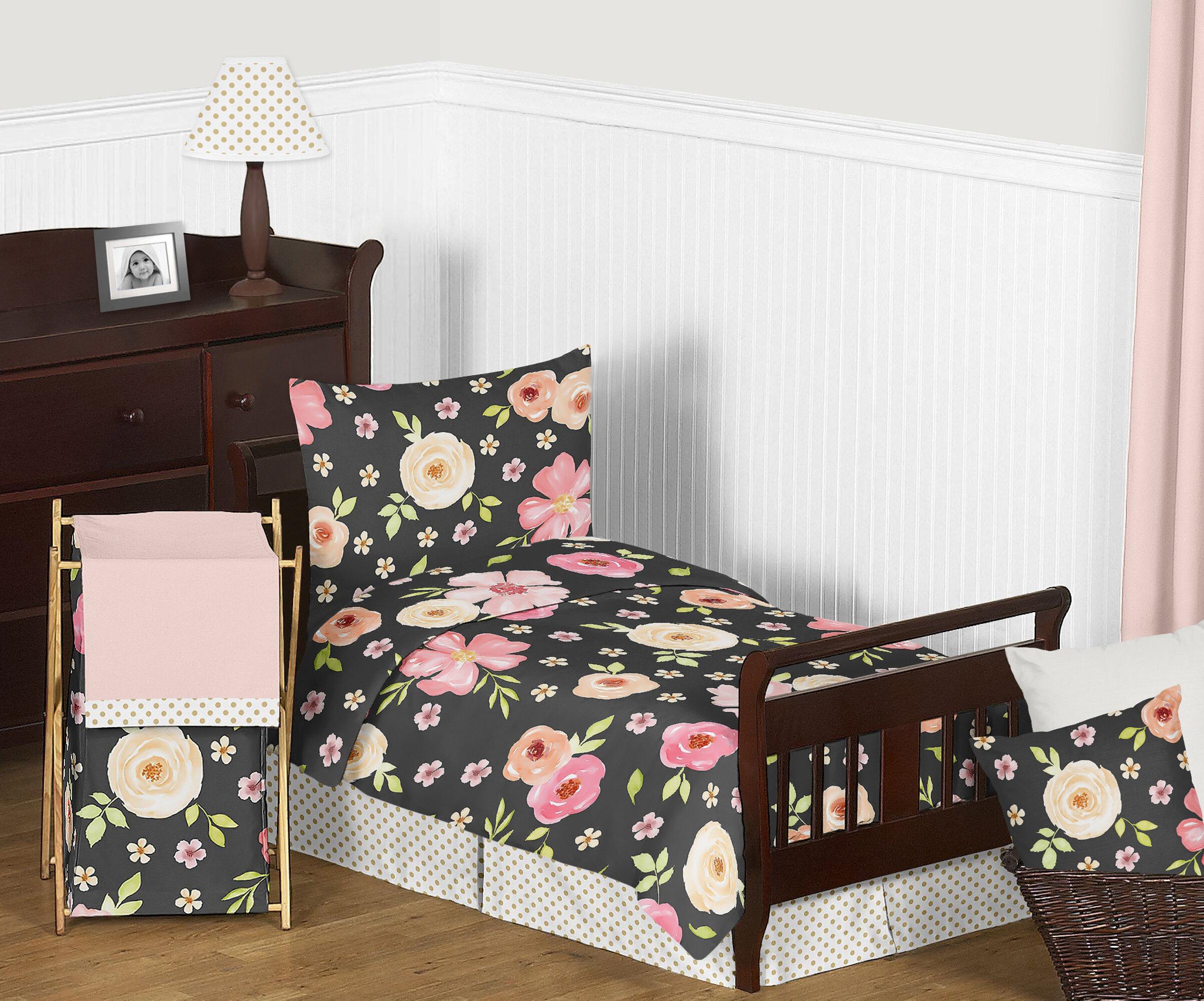 Sweet Jojo Designs Watercolor Floral 5 Piece Toddler Bedding Set