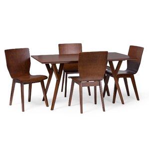 Slye Dark Walnut Bent Wood 5 Piece Dining Set