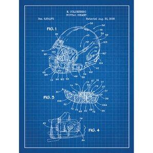 Sporting Goods U0027Modern Football Helmetu0027 Silk Screen Print Graphic Art In  Blue Grid/