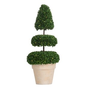 Pre-Light Faux Floor Boxwood Topiary