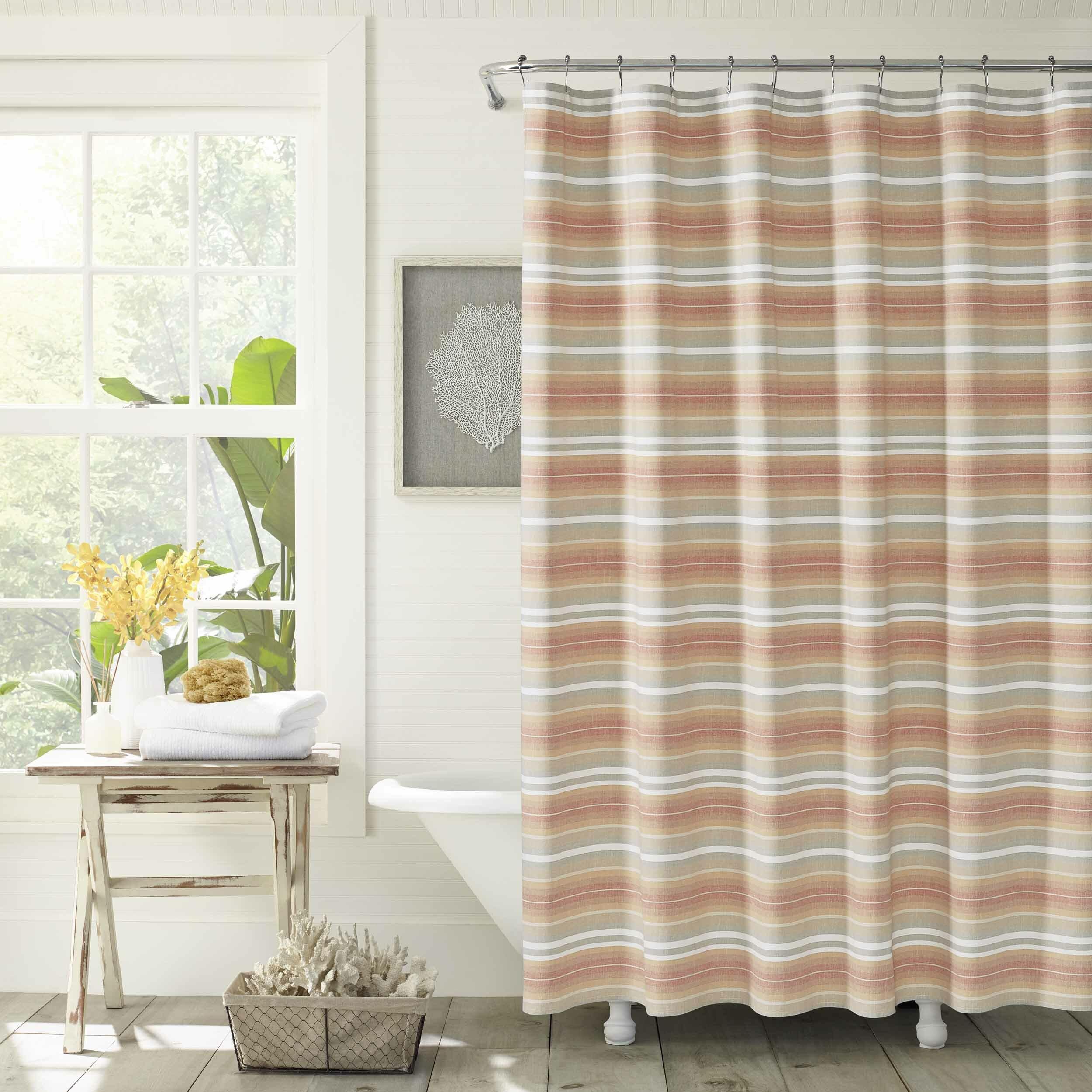 Sunrise Stripe 100 Cotton Single Shower Curtain