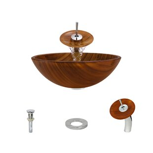 MR Direct Wood Grain Glass Circular Vessel Bathroom Sink with Faucet