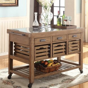 Gracie Oaks Barren Presentable Kitchen Island with Stainless Steel Top