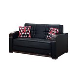 Ursina Faux Leather Round Arm Loveseat Sofa Bed by Latitude Run®