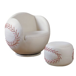 Scheetz Baseball Swivel Barrel Chair with Ottoman by Zoomie Kids