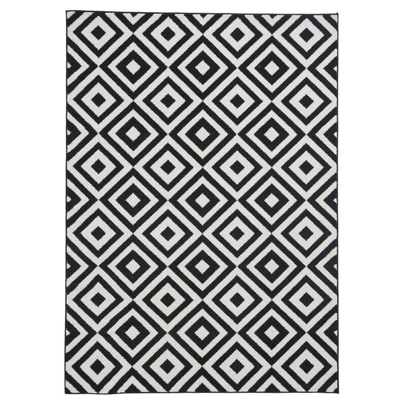 Ebern Designs Armbruster Tufted Black White Rug Reviews Wayfair Co Uk
